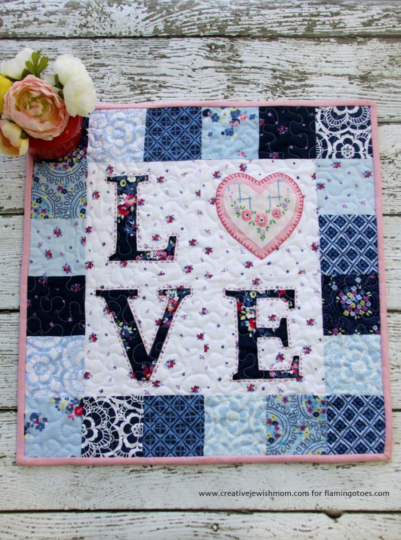 LOVE floral mini quilt