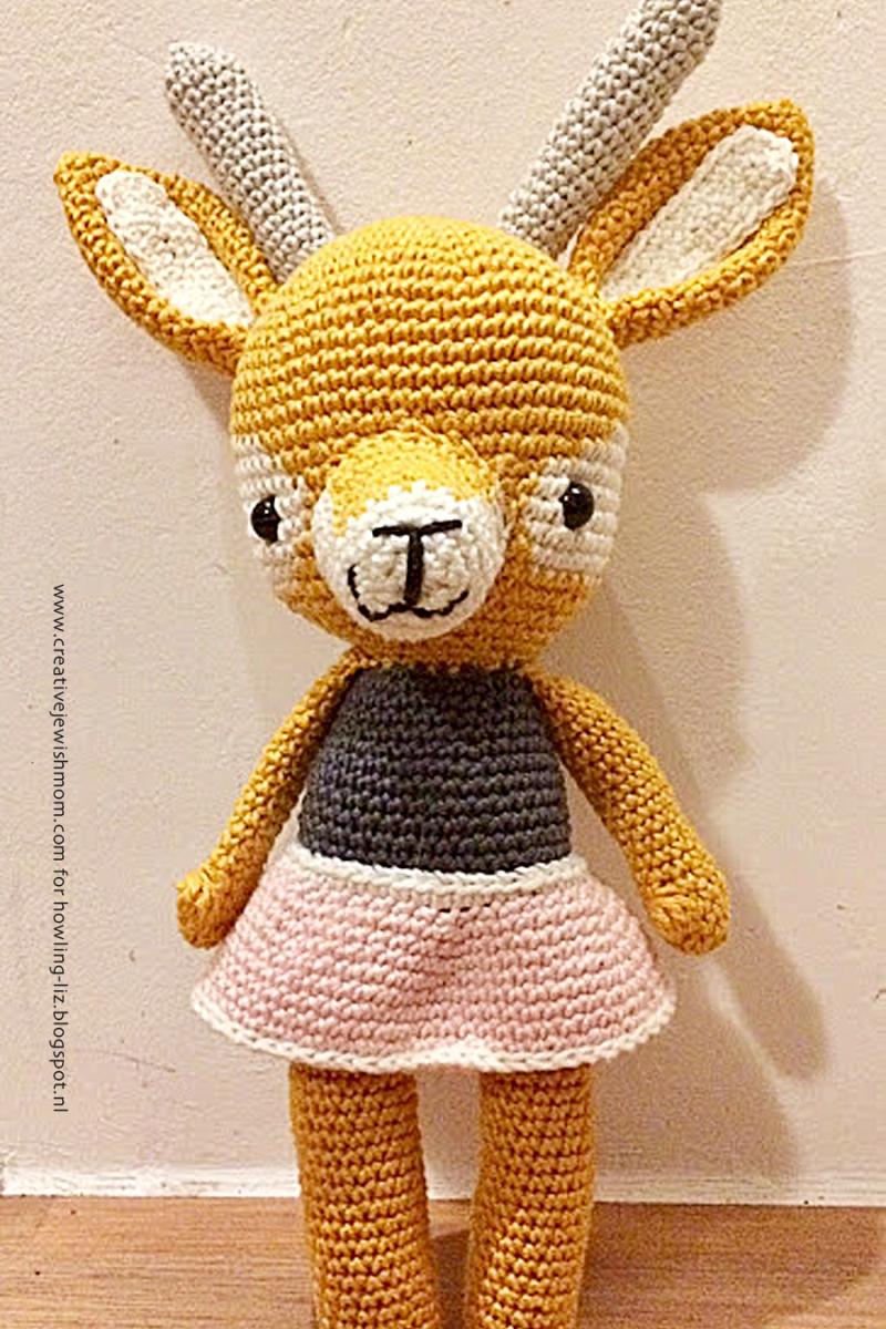 Crocheted amigurumi gazelle baby present
