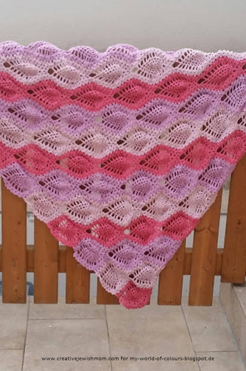 Crocheted Pineapple stitch shawl
