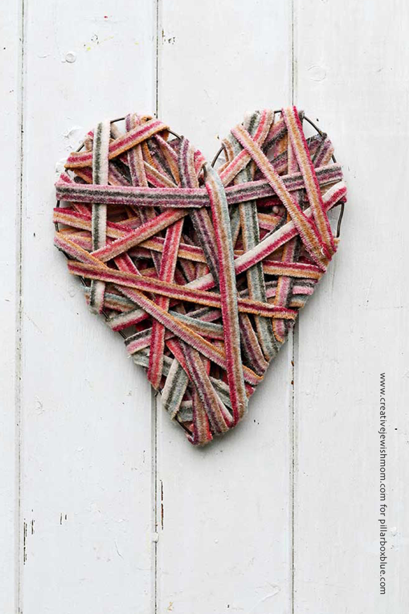 Recycled sweater strips heart