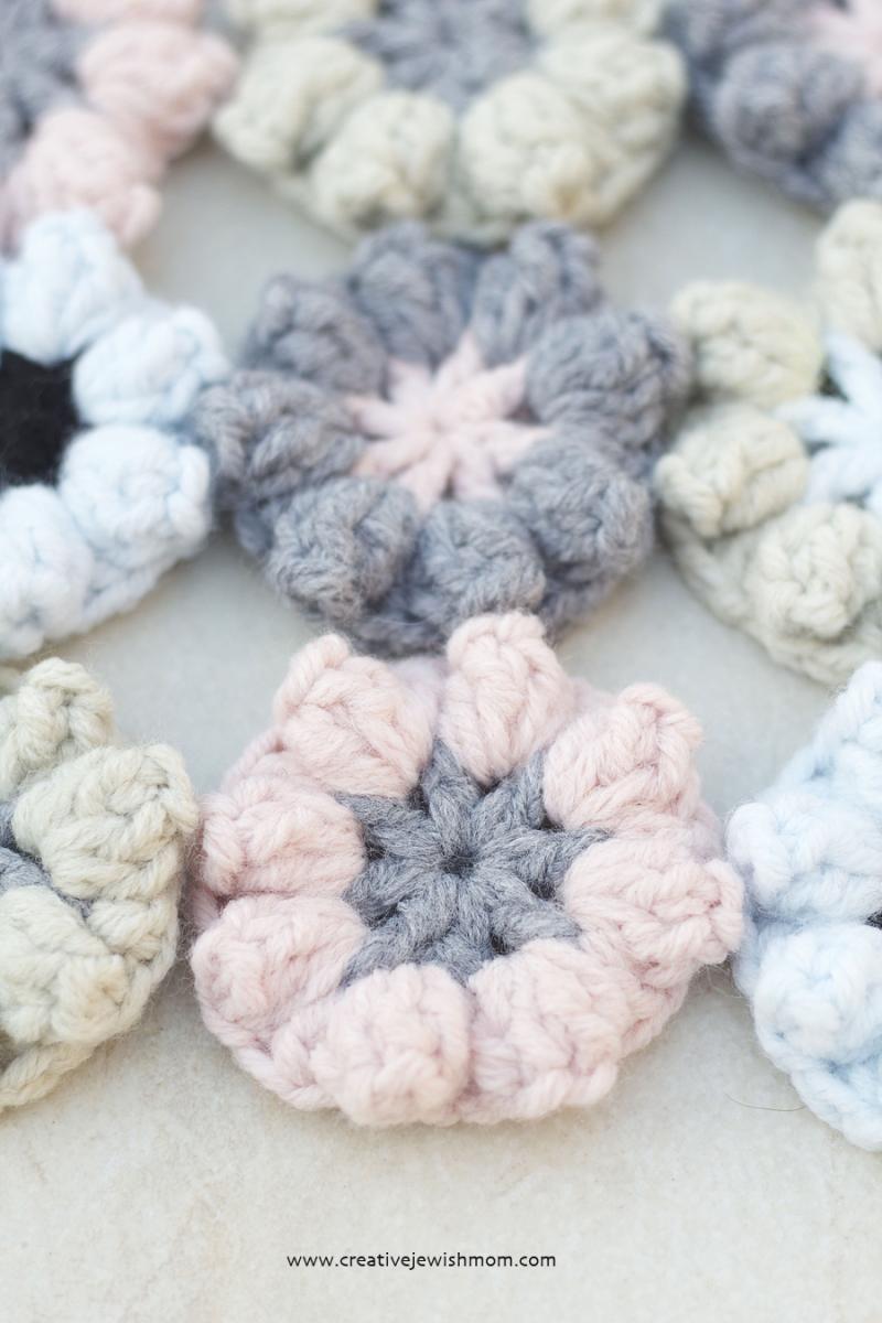 Crocheted Popcorn Stitch simple flower