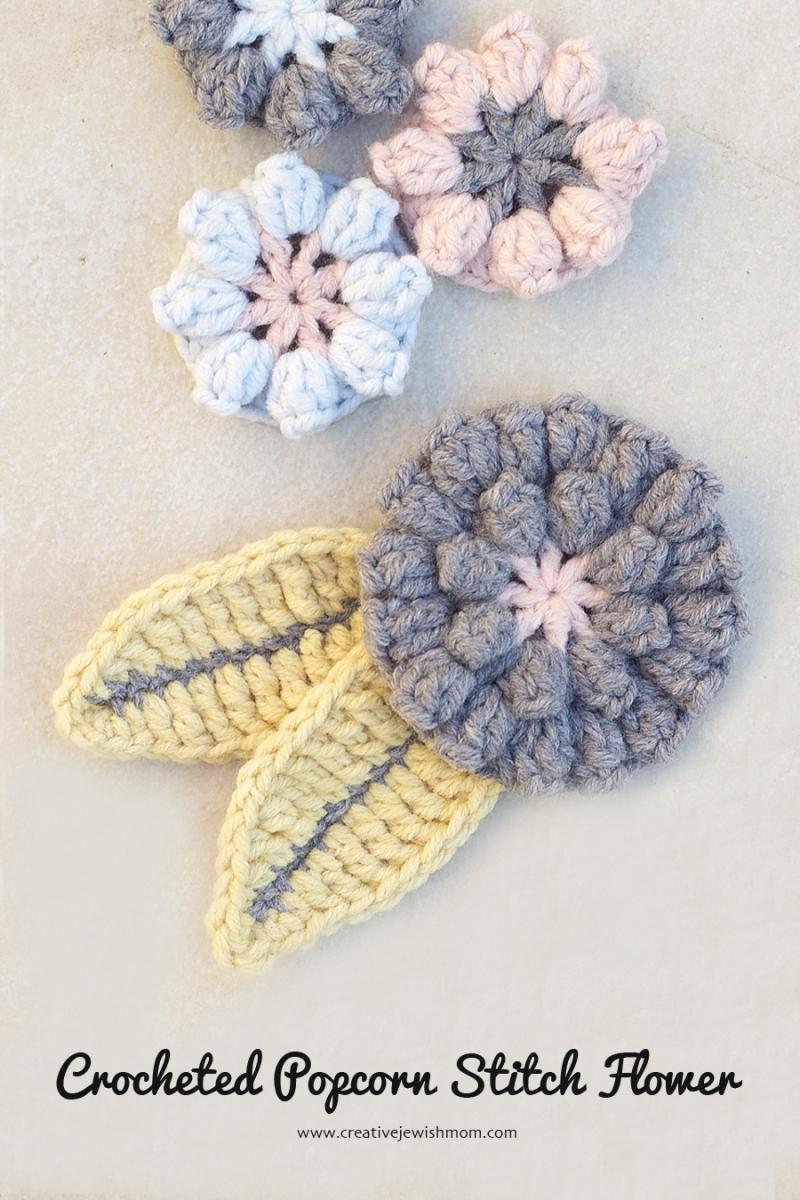 Crocheed Popcorn Flower Applique