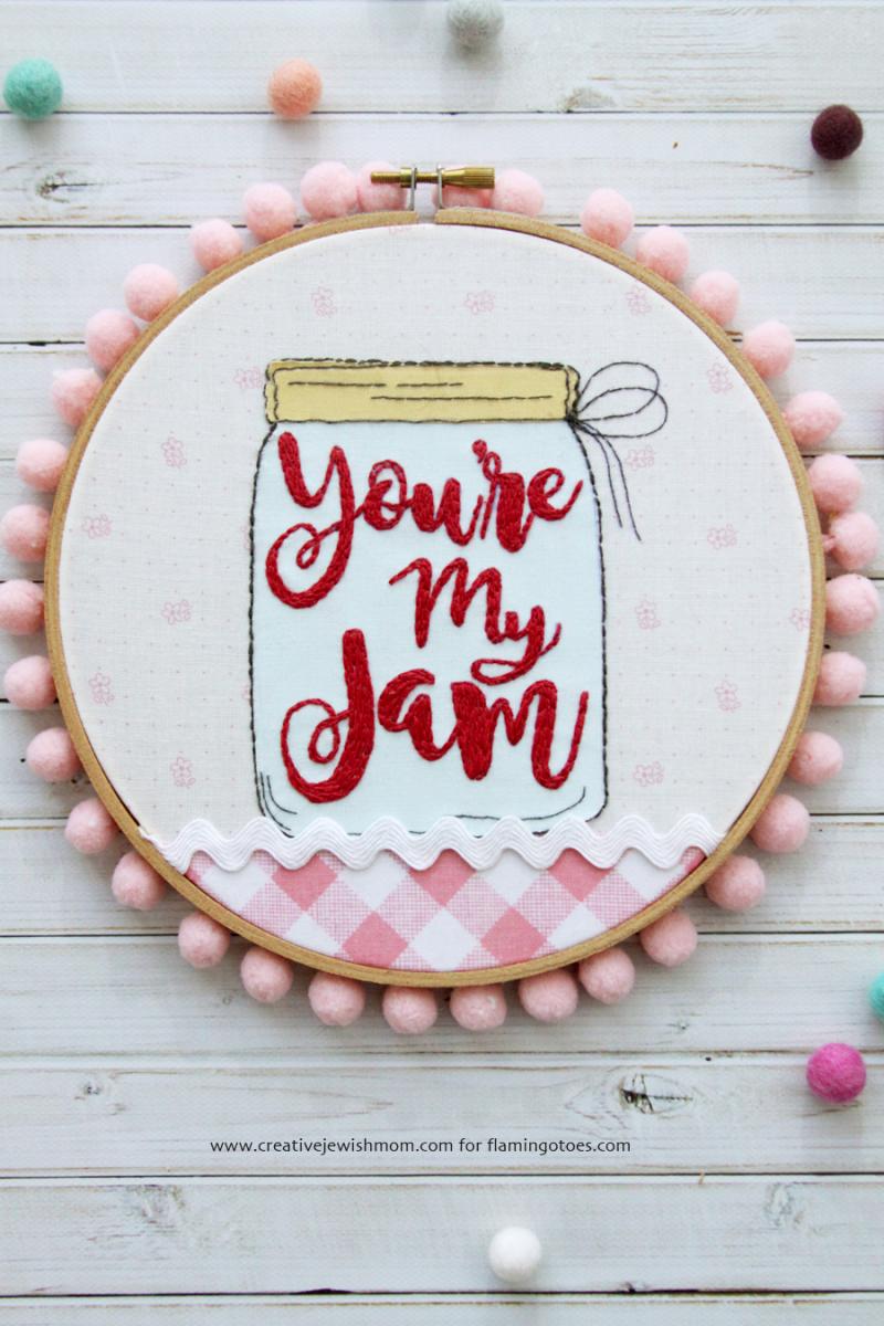 Mason jar applique hoop art