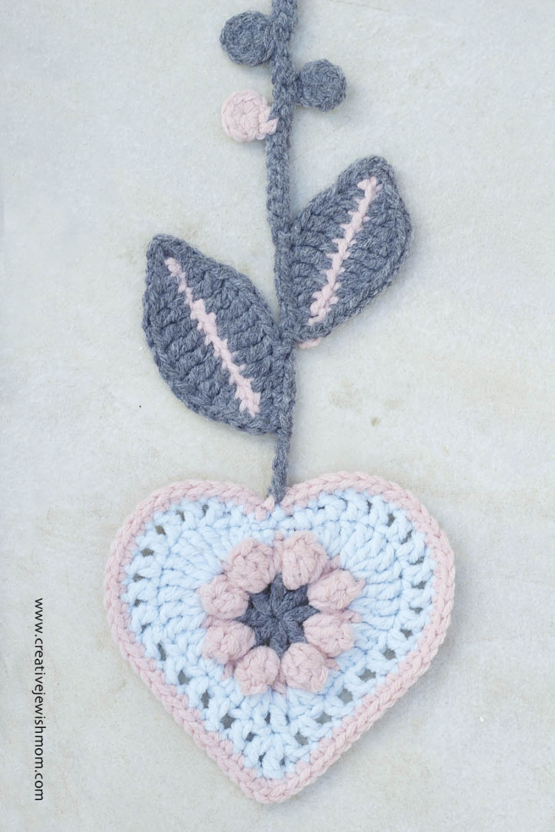 Crocheted Heart with Leaves Wall Hanging