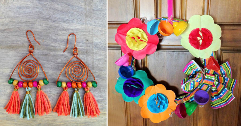 DIY boho tassel earings paper wreath for party