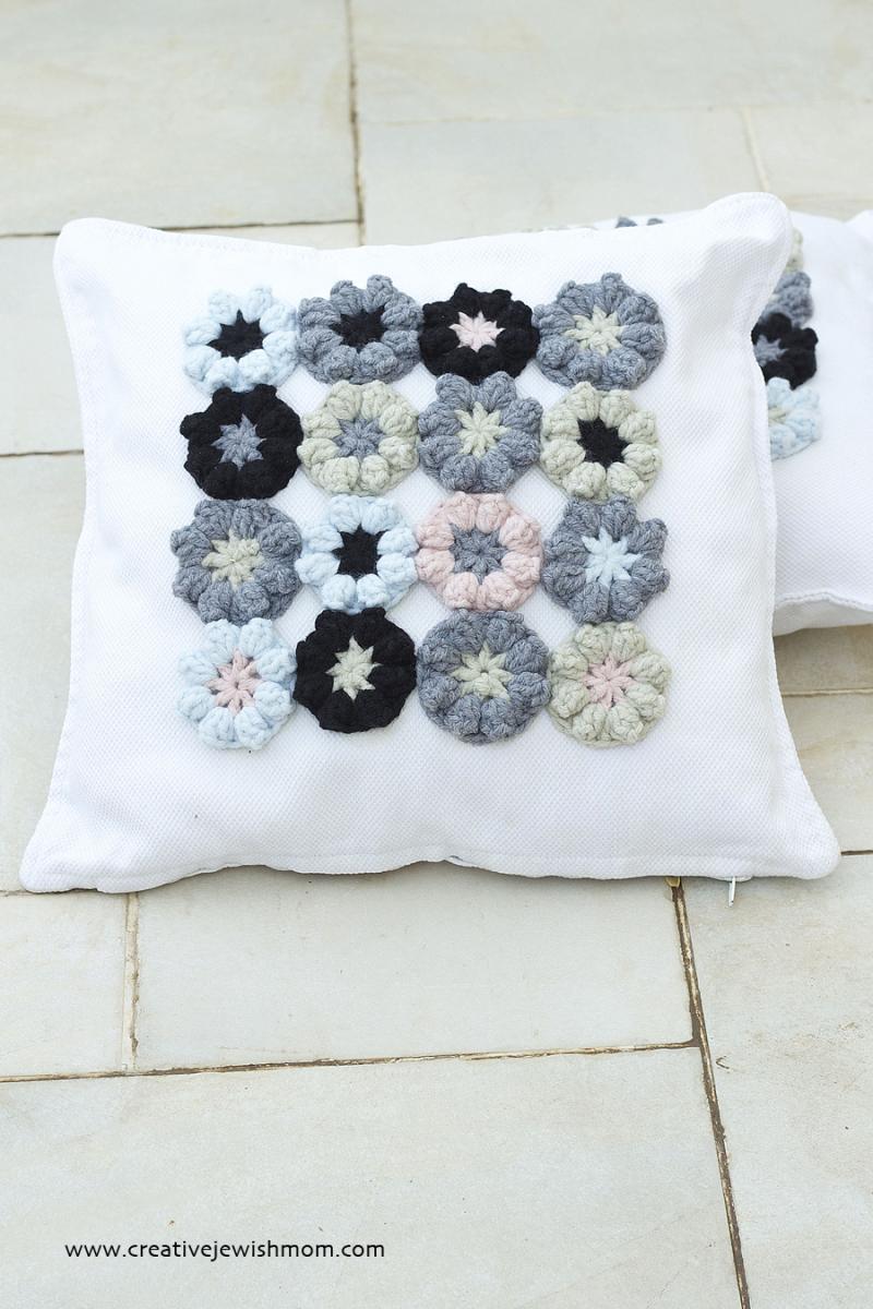 Crocheted Flower Applique Pillow