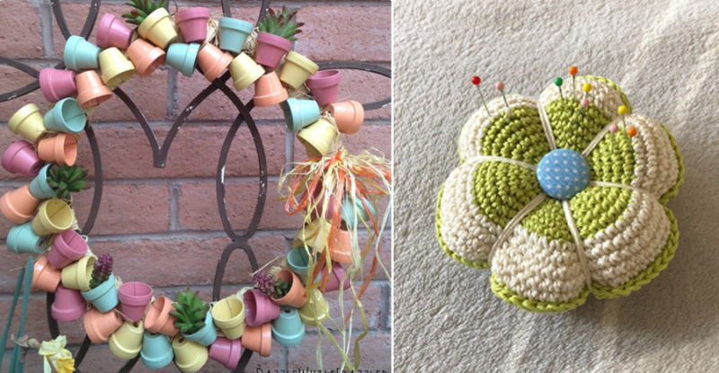 Crocheted flower pin cushion mini pots wreath
