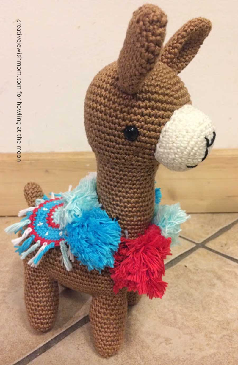 Crocheted lama stuffed animal