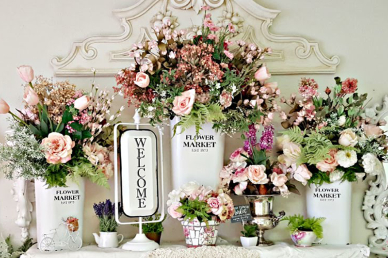 Flower market dresser top arrangement