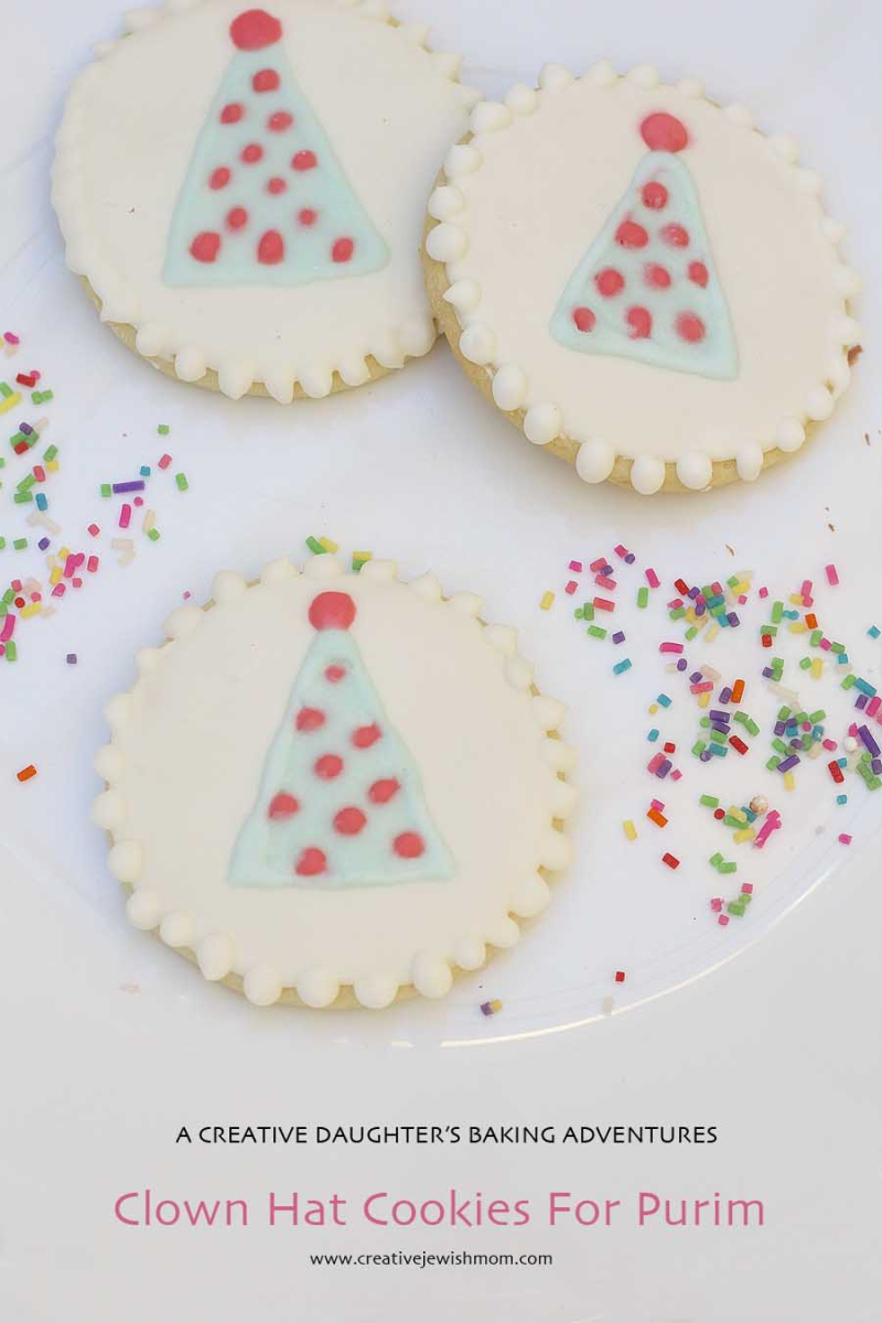 Royal icing clown hat cookies