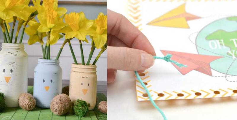 Mason jars painted like chicks DIY lacing cards