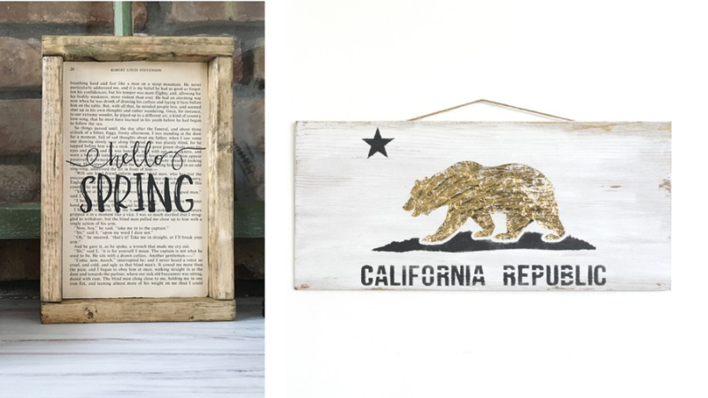 Stencilled California flag sign hello spring sign on book page