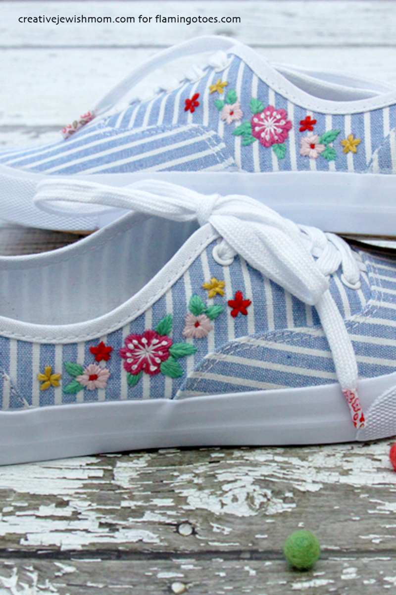 DIY Floral embroidered canvas sneakers