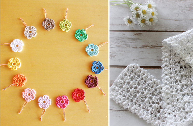 Tiny-crocheted-flowers crocheted-lace-edging