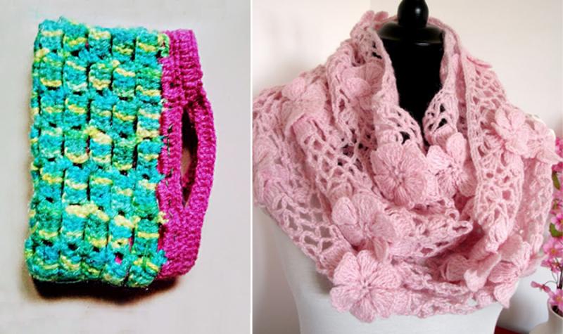 Crochet-flower-net-cowl crochet-zipper-lined-pouch