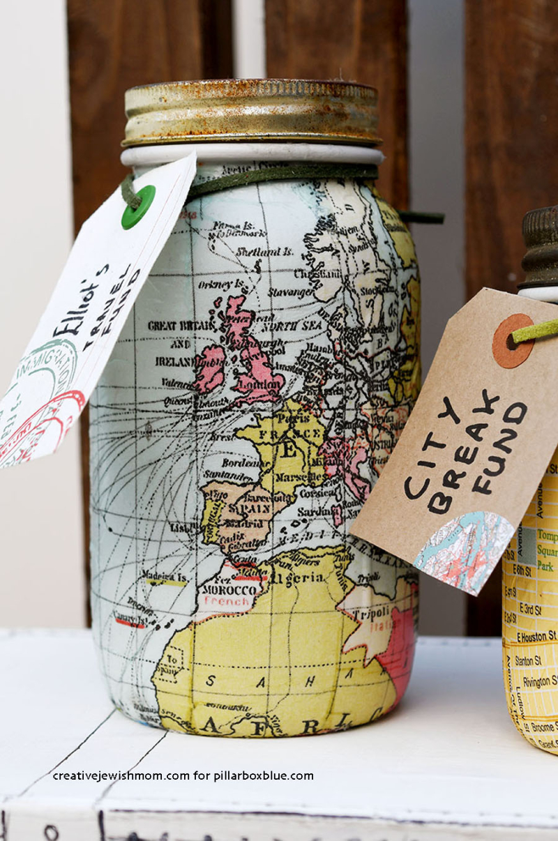 World-Map-mason-jar-bank-decoupage