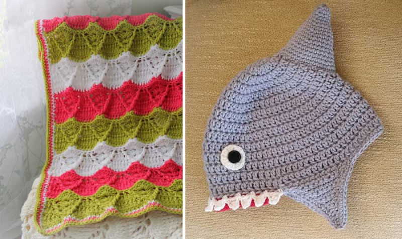 Crocheted shark hat crocheted wavy shell afghan