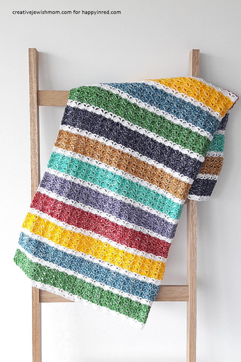 Sea-shell-crocheted-blanket-striped