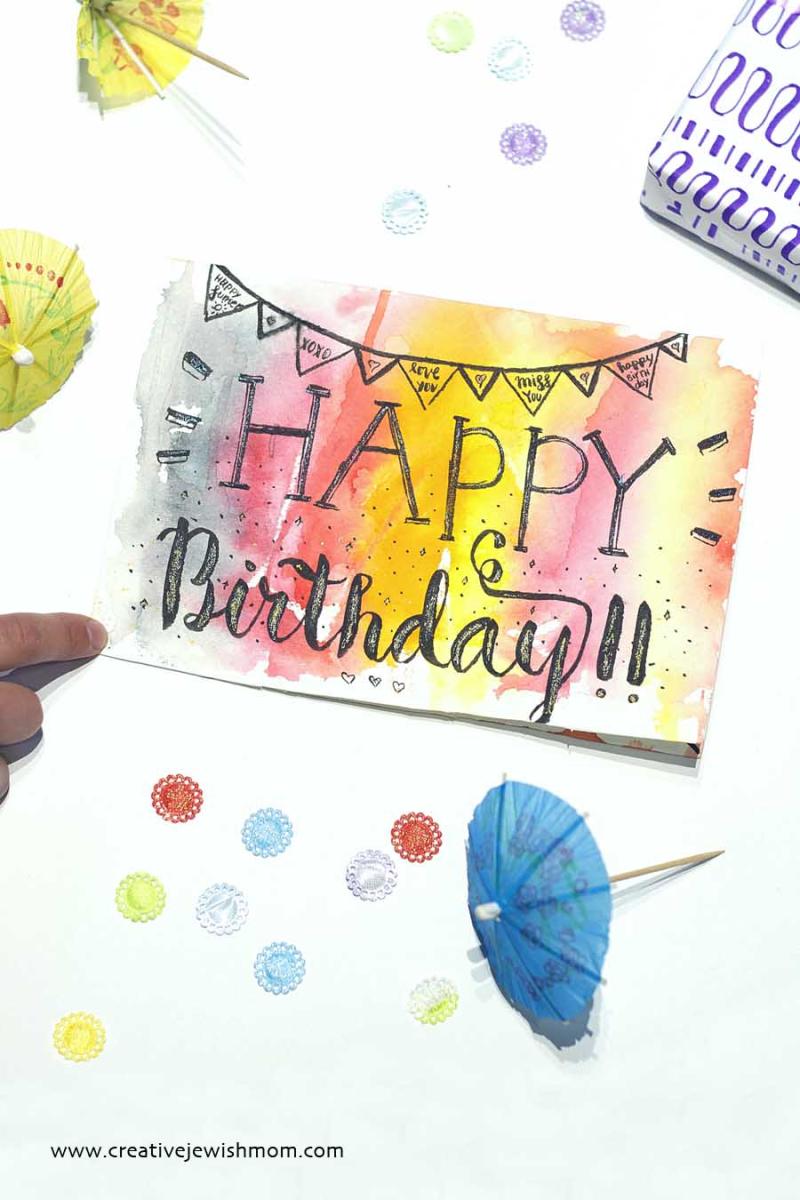 Happy Birthday brush calligraphy
