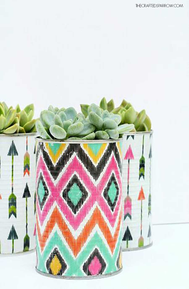 Decoupaged-Tin-Can-Planters