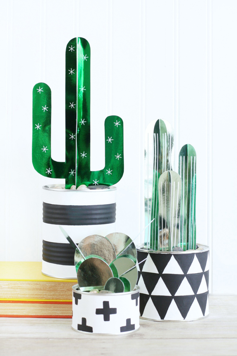 DIY-paper-Cactus-Plants-in-tin-can-planters