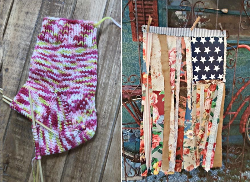Rag-strips-american-flag knit socks in progress
