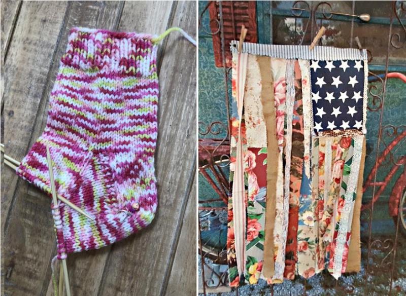 Rag-strips-american-flag knit socks in progress