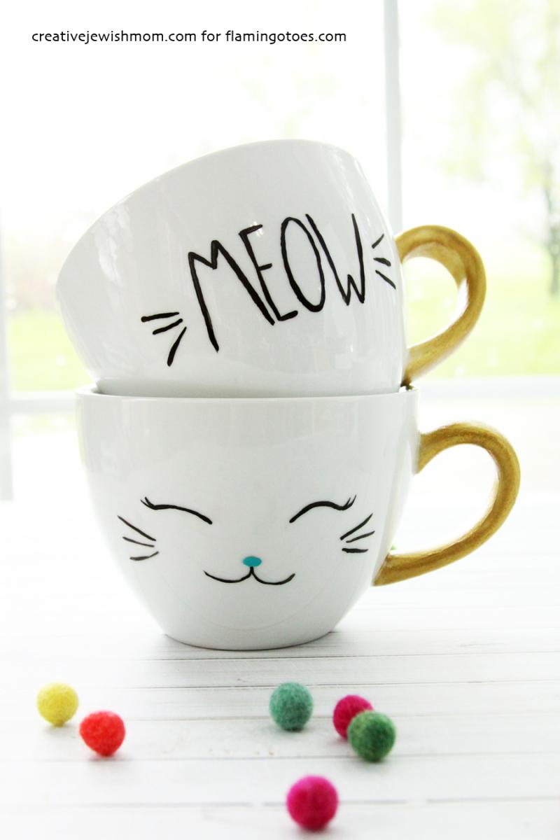 DIY-Painted-Cat-Mugs