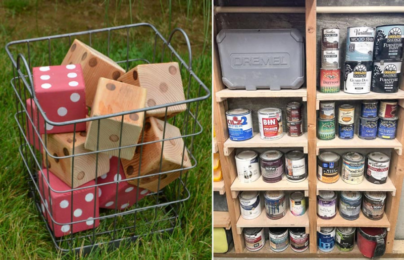 DIY wooden lawn dice between the studs storage shelves