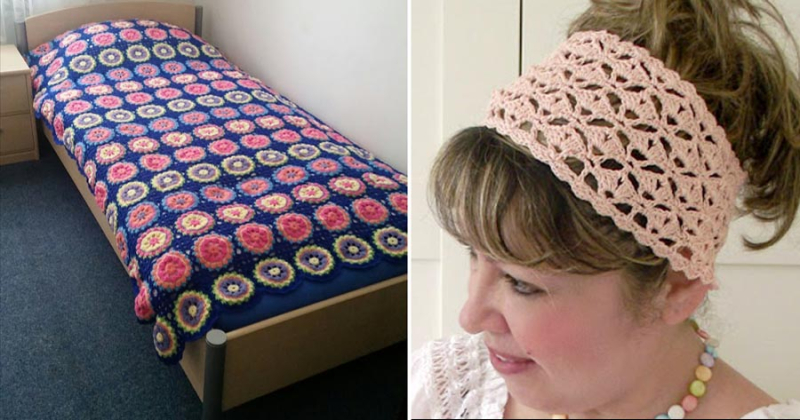 Crocheted fan stitch headband croceted circles granny blanket
