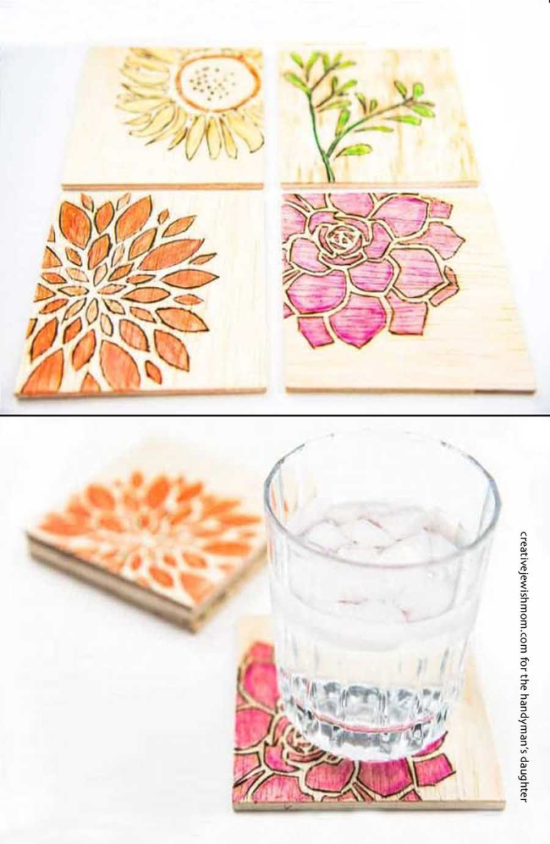 Watercolor-wooden-coasters