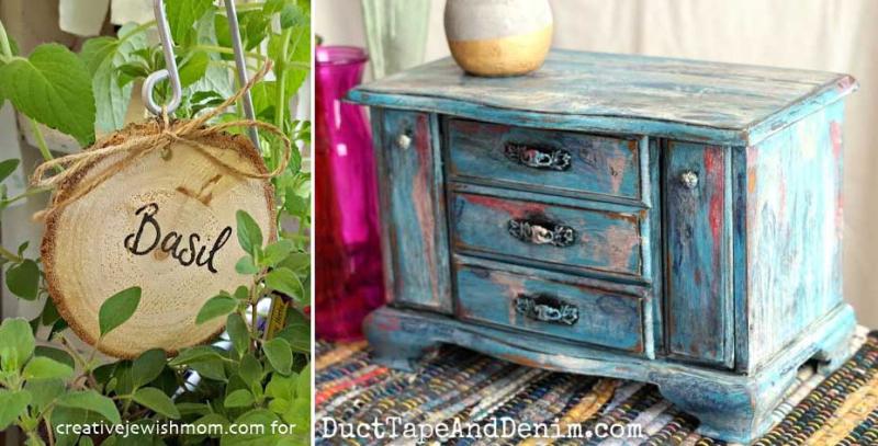 Wood-slice-plant-marker boho-painted-jewelry-box