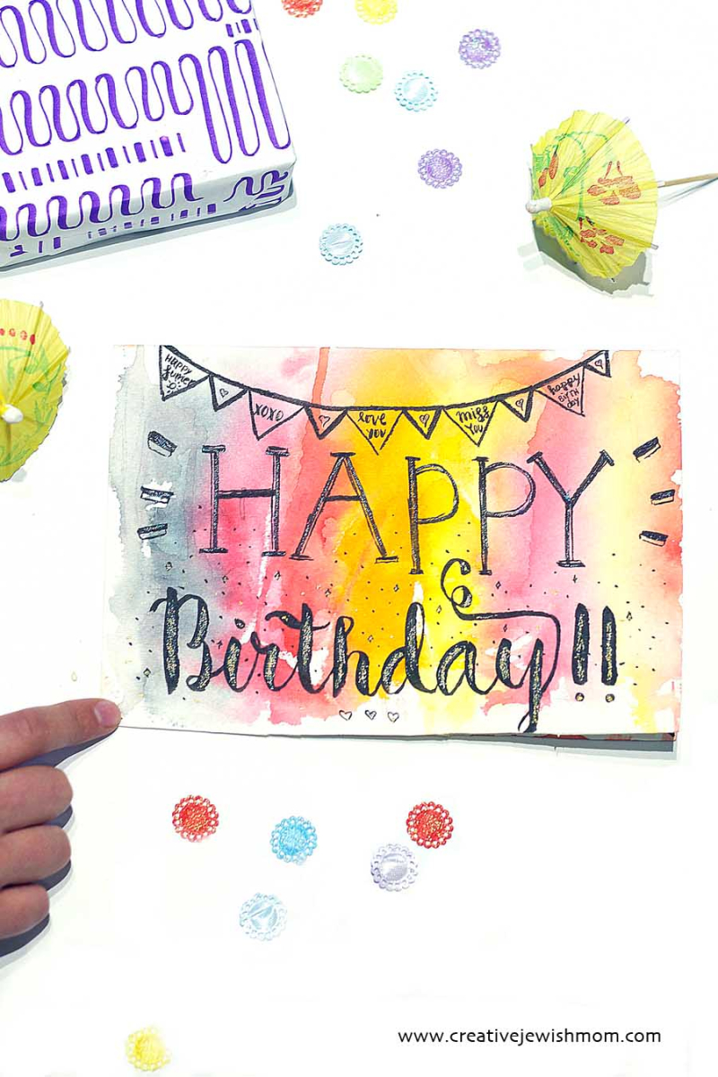 Brush Lettering With Faux watercolor birthday