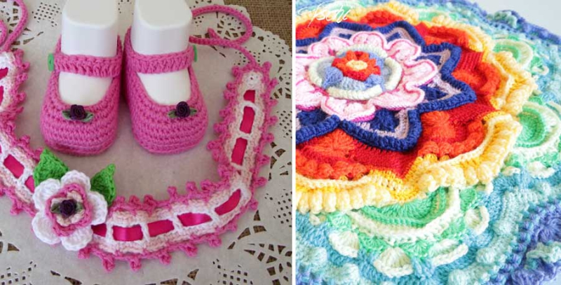 Crocheted-baby-shoes-with-headband crocheted-star-doily