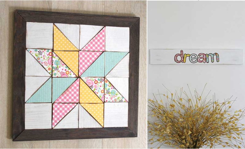 Dream-sign-fabric letters wood-quilt-art-with-fabric-decoupage