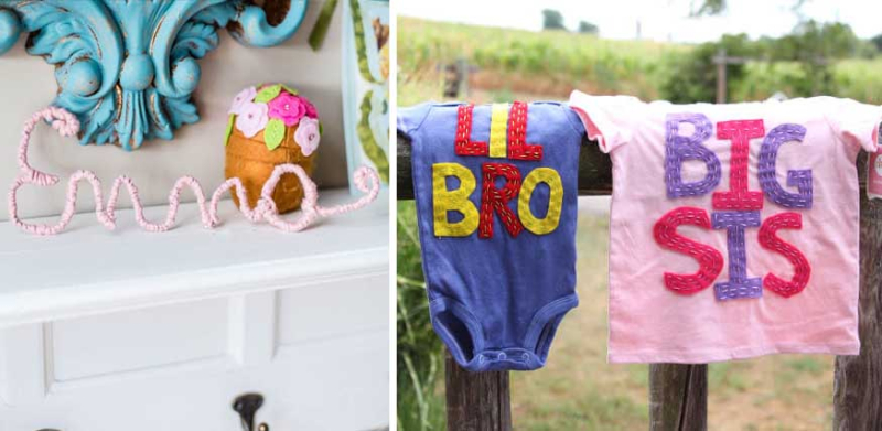 Wire-wrapped-name-DIY lil-bro-big-sis-shirts-craft