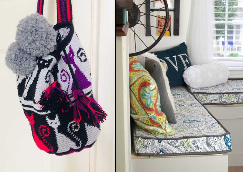 Crocheted cat mochilla bag DIY piped bench cushions