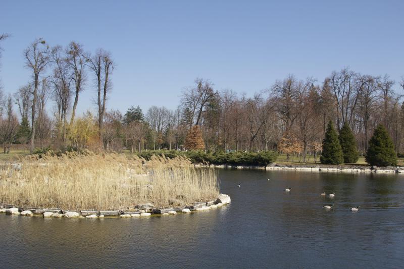 Mezhyhirya Residence clubhouse on pond