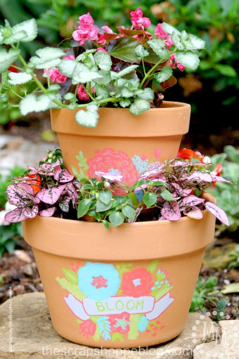 Stacked planter with painted design