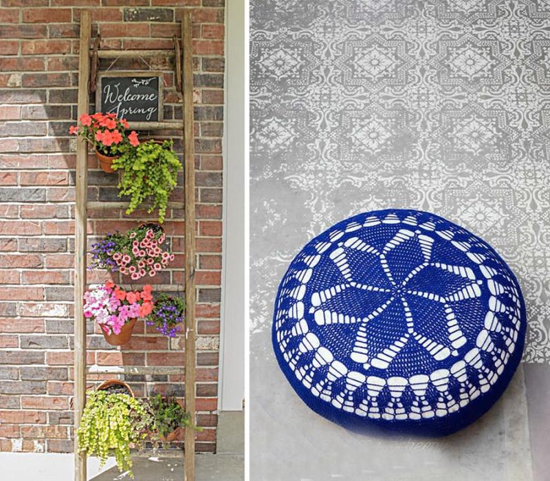 Ladder plant rack  crocheted star floor pillow