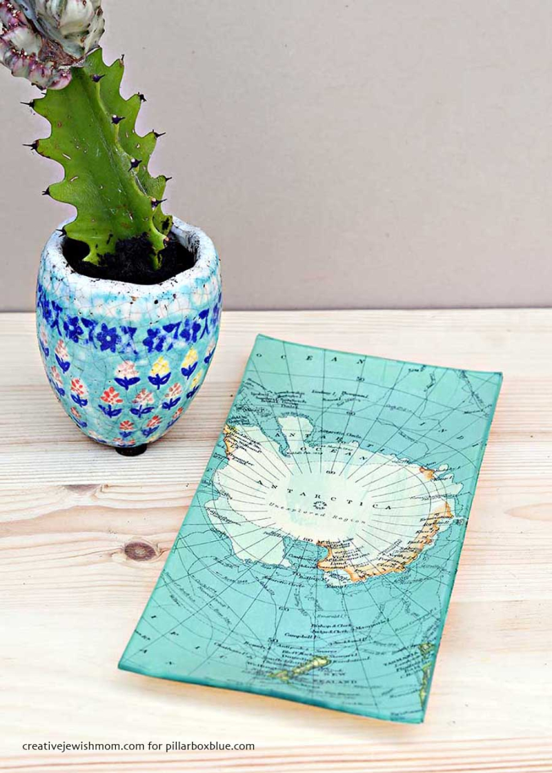 Decoupage-antartic-map-glass-dish