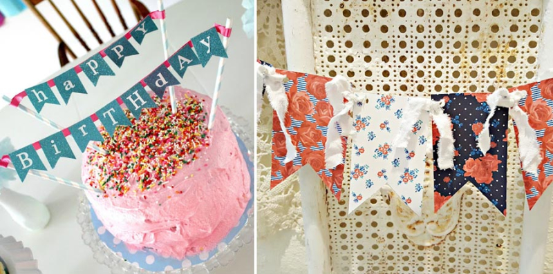 Birthday cake bunting rags and paper bunting