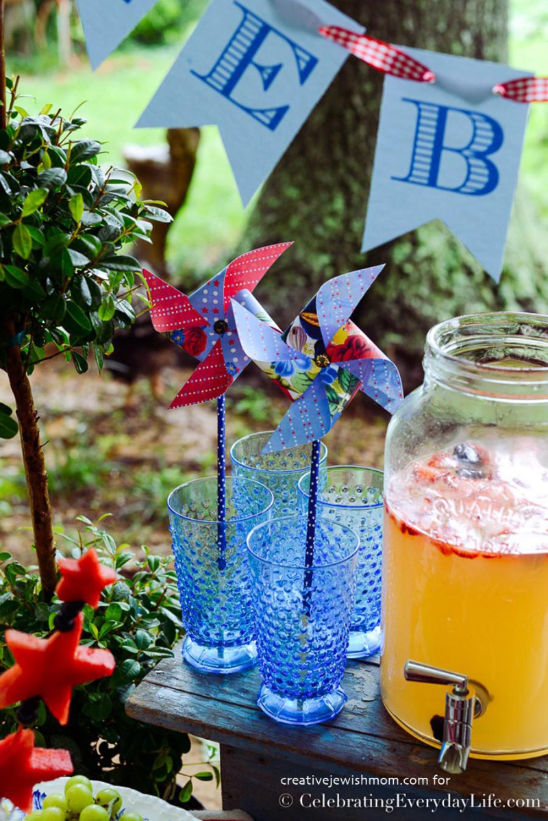 Pinwheel straws for patriotic party