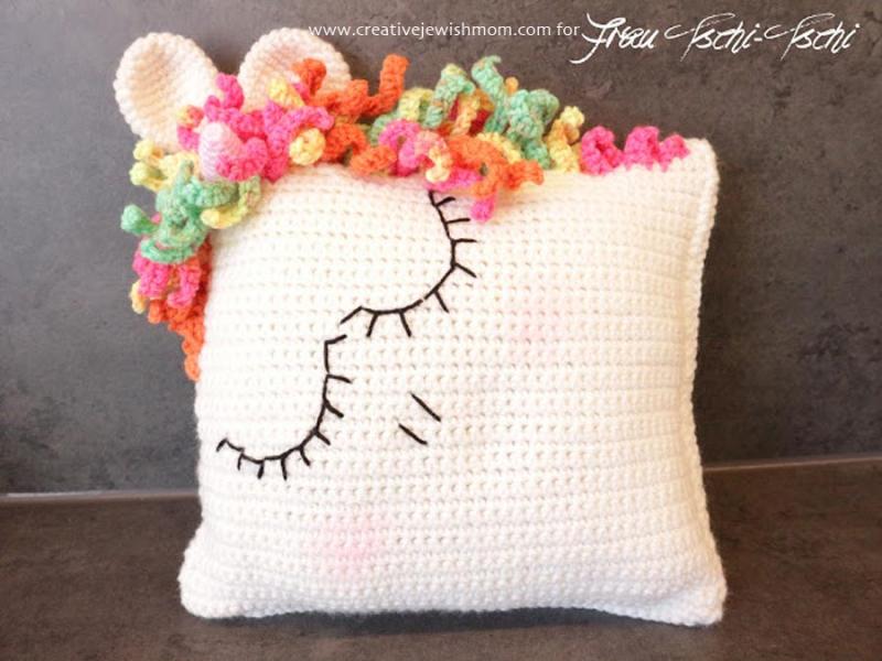 Crocheted unicorn pillow