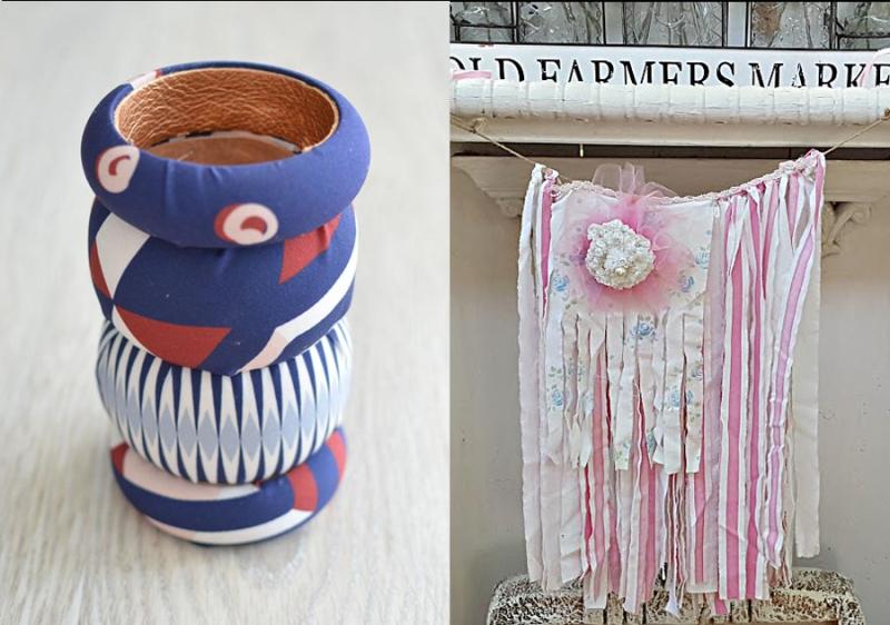 Rag strips american flag fabric covered bracelets