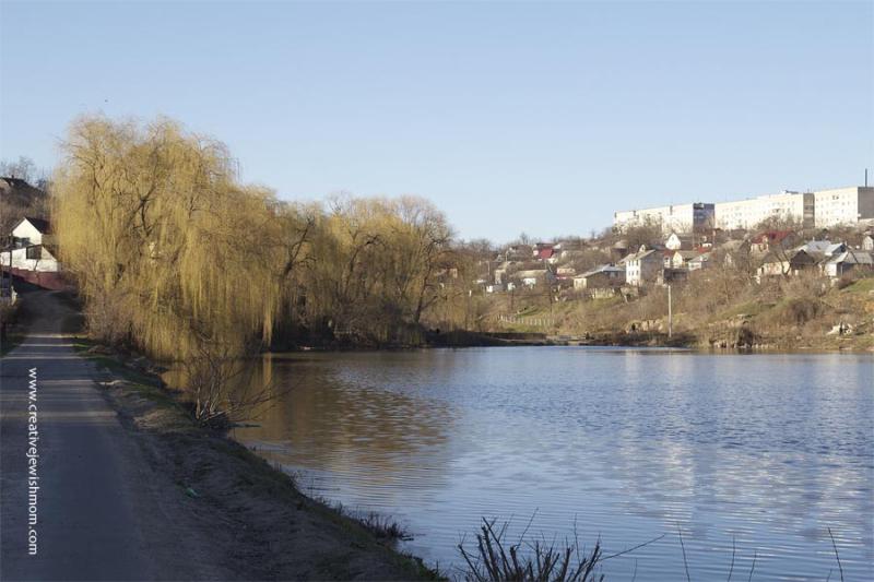 Uman Ukraine Pond with buds on trees
