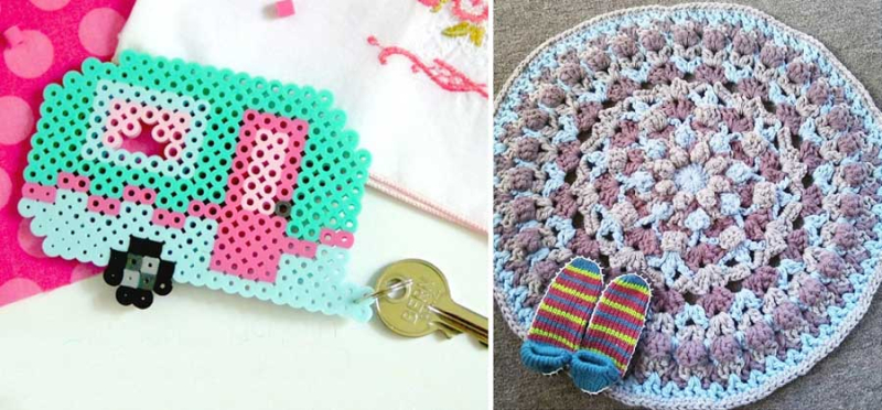 Perler bead retro camper keychain small crocheted rug with multiple strands