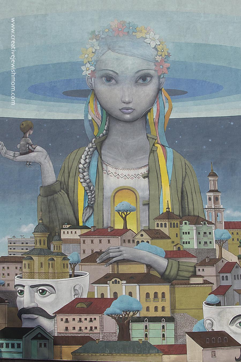 Ukrainian girl mural in Podil  Kiev