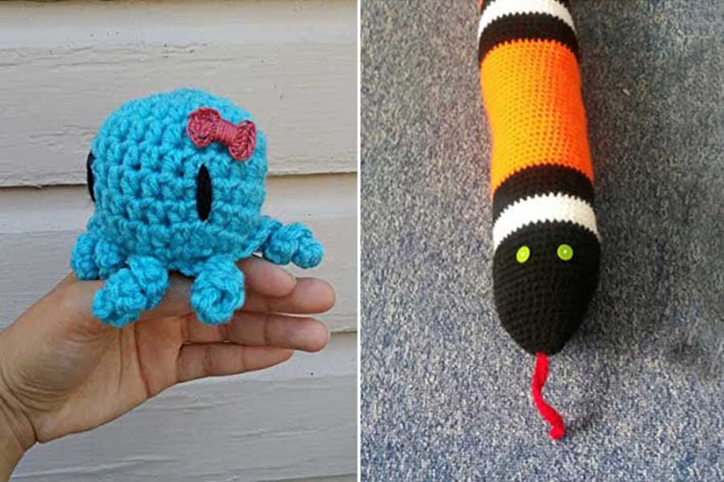 Crocheted-octopus-amigurumi crocheted-snake