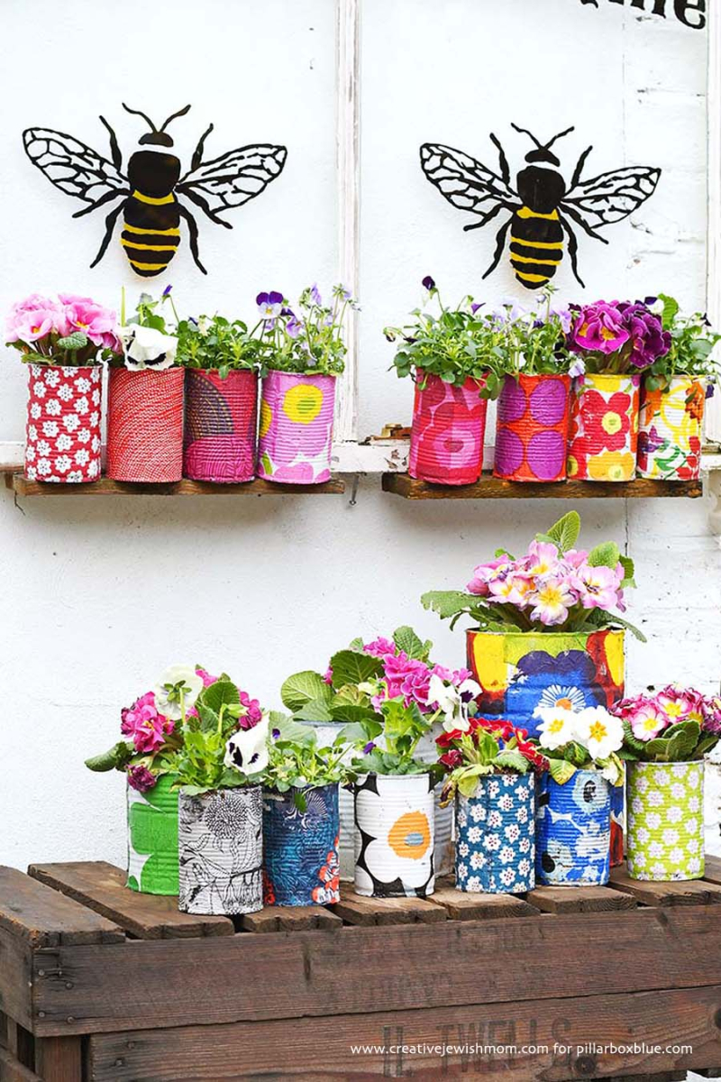 Marimekko-Decorative-tin-can-planters-with-napkin-decoupage